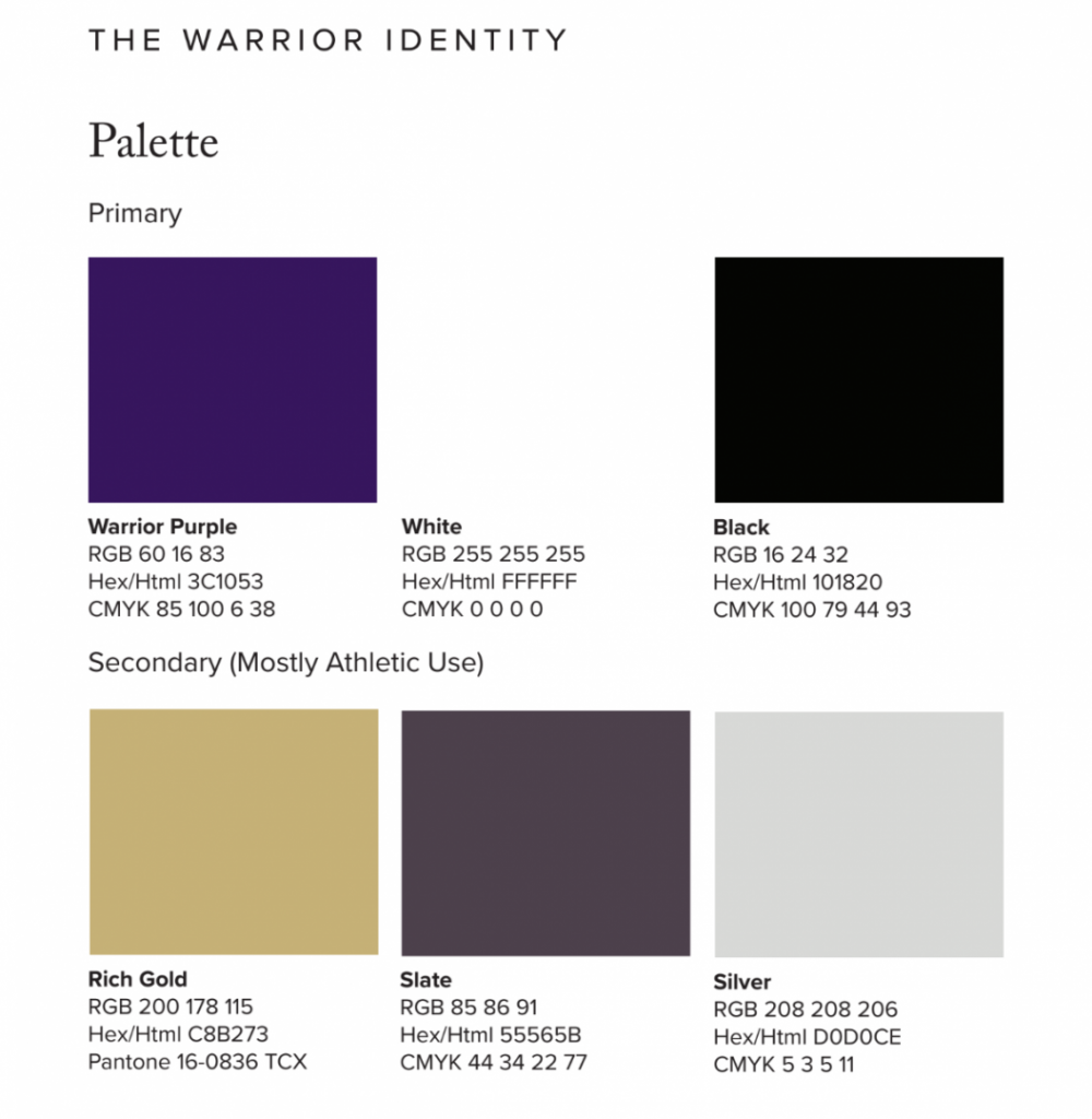Norwalk Schools' Color Palette for the district brand