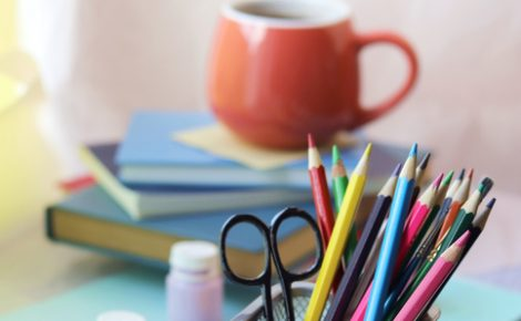 School stationery, books on the table, home schooling concept